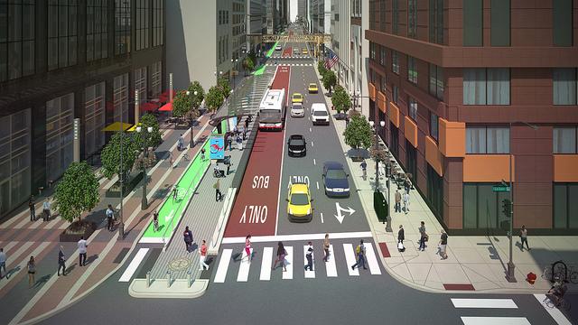 Rendering of BRT on Washington at LaSalle. Photo: John Greenfield