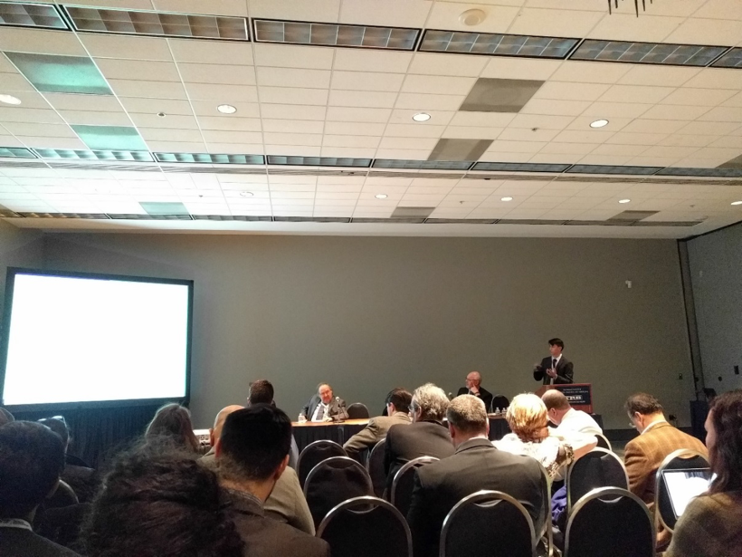 "Pablo Guarda presenting the paper ""Comparing Chinese and Non-Chinese Bus Rapid Transits (BRT): Evidence from Evaluating Global BRTs Based on BRT Design Indicators"" at TRB 2017 Description. Photo: Jacob Sacks"